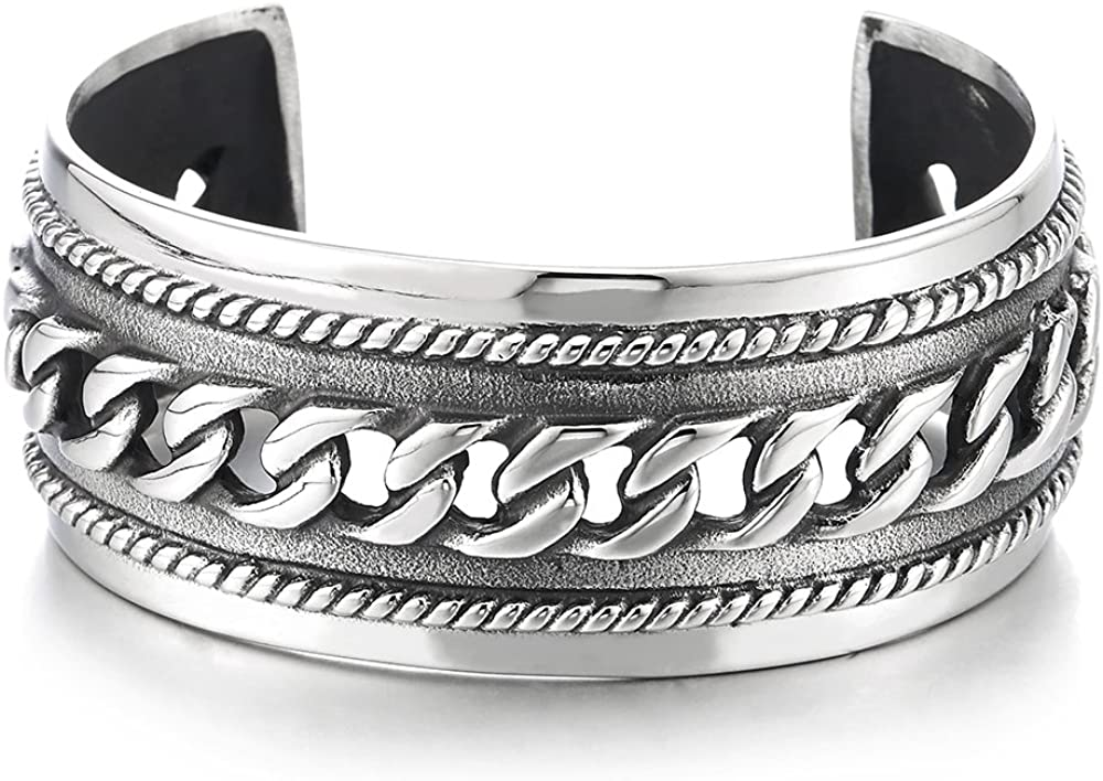 COOLSTEELANDBEYOND Masculine Wide Steel Cuff Bangle Bracelet for Men Women with Curb Chain Ornament