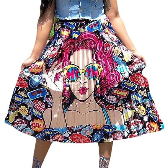 Raylans Falda plisada con estampado de dibujos animados para mujer ...