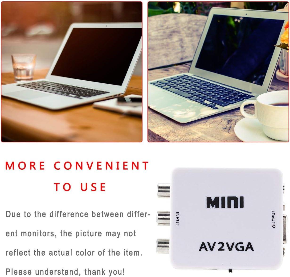 Ba30DEllylelly Mini convertitore video AV2VGA ad alta definizione Box AV RCA CVBS a VGA Video Convertitore video adattatore HDTV
