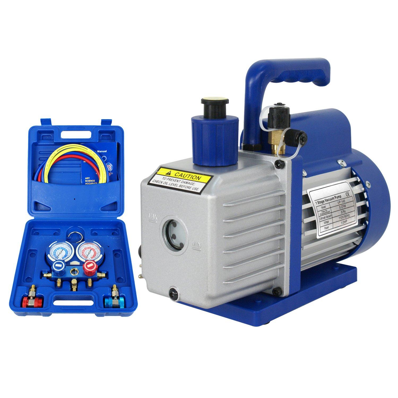 F2C 5CFM 1/3 HP Air Vacuum Pump HVAC Refrigeration KIT A/C Manifold Gauge Set Combo by F2C (Image #3)