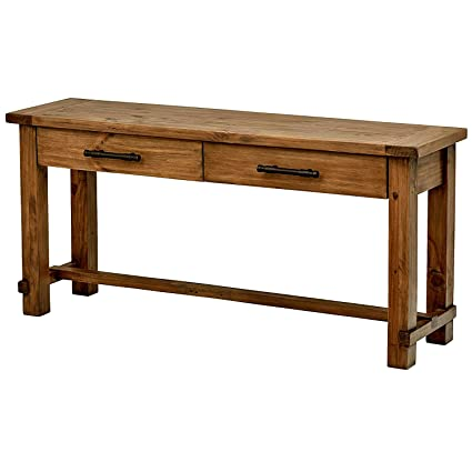 Long Entryway Table Wooden Brown Finish Color Narrow Tall Rectangular  Rustic Farmhouse Style Hall Console Table
