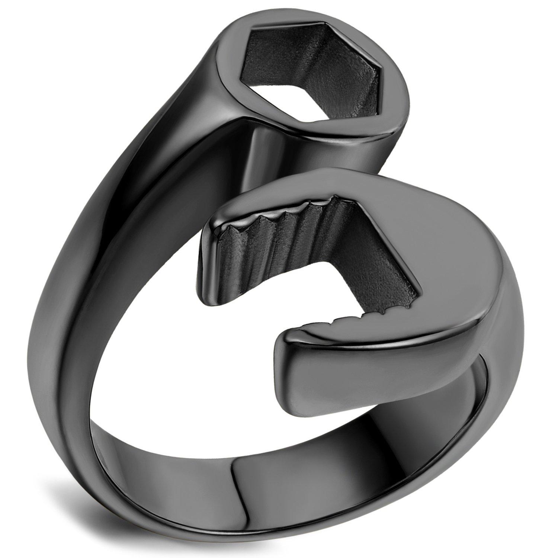 Flongo Men's Punk Stainless Steel Black Spanner Mechanic Wrench Tool Polished Ring flongo-128