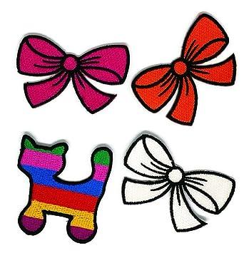 Juego de 4 cintas de lazo de gato coloridas bordadas para coser, planchar o coser, ...