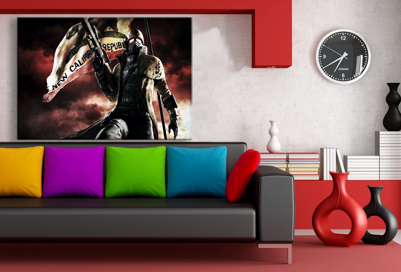 Fallout New Vegas Kämpfer Leinwandbild LaraArt Studio Wanddeko Wandbild 100 100 100 x 70 cm f1320d