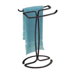 iDesign Axis Metal Hand Towel Holder for Master Bathroom, Vanities, Countertops, Kitchen, Holds 2 Finger Tip Towels, Bronze