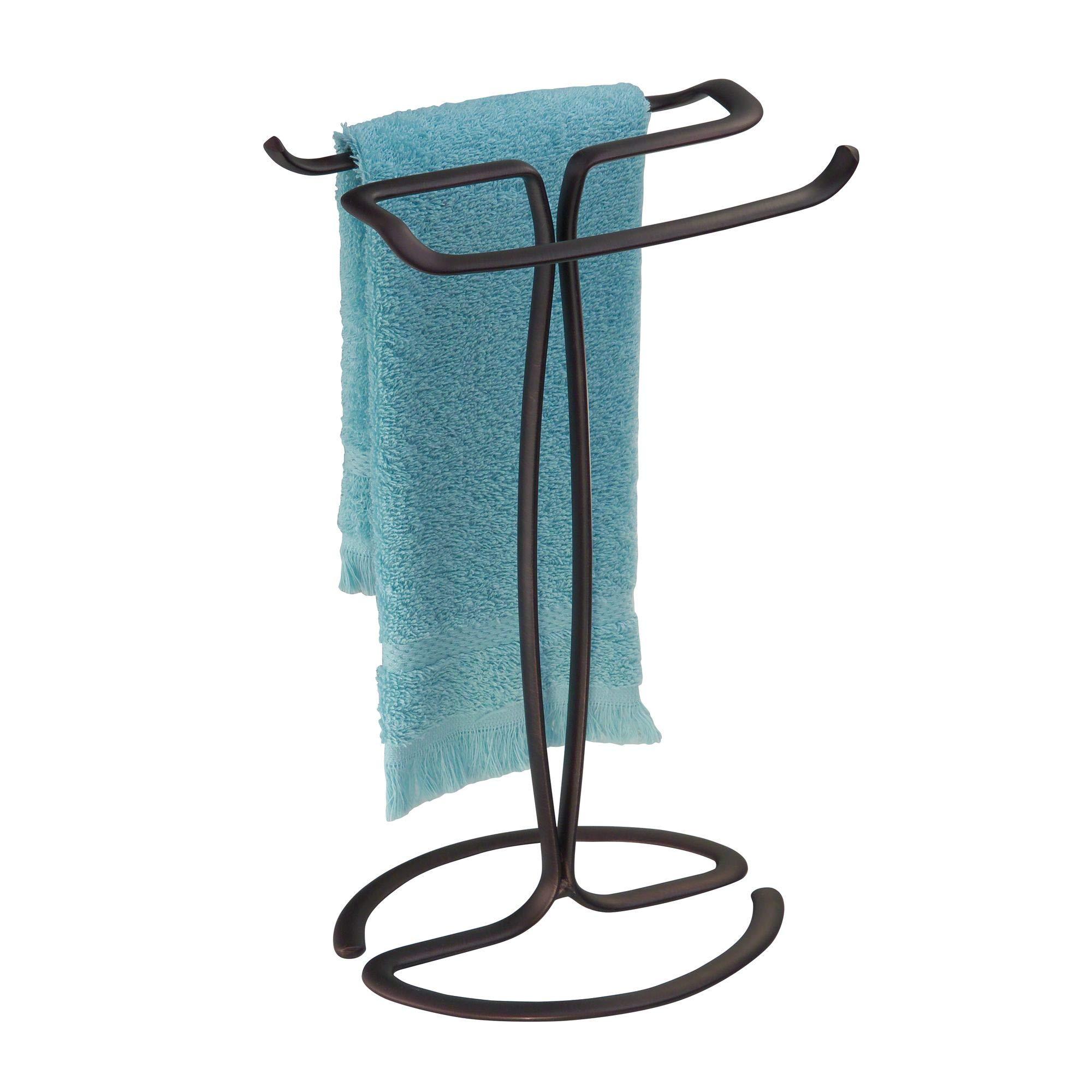 iDesign Axis Metal Hand Towel Holder for Master Bathroom, Vanities, Countertops, Kitchen, Holds 2 Finger Tip, Bronze