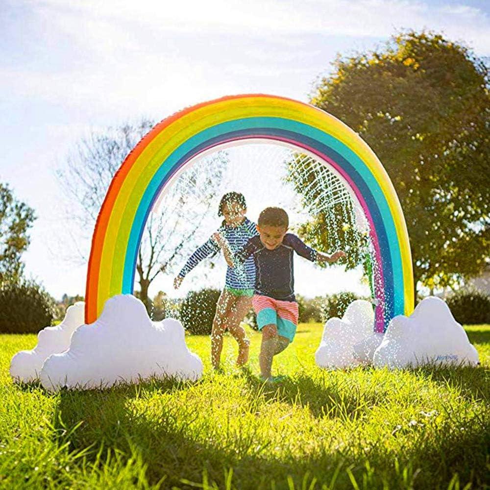 QYHSS Aspersor Arco Iris Gigante Inflable, Aspersor Agua Para Actividades Familiares Al Aire Libre, Aspersor Césped Para Jardín, Juguetes Agua NiñOs, Para NiñOs Adultos (280X160CM)
