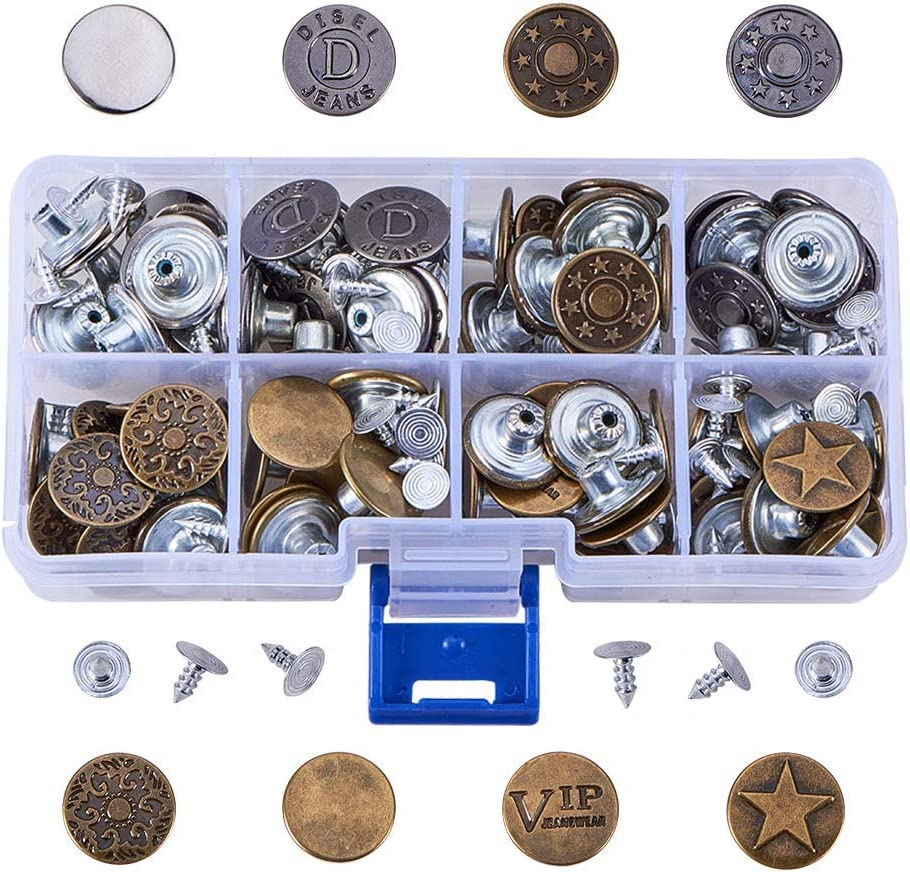 80 Sets Vintage Jeans Buttons and Tacks, 17mm Metal Fix Snap Buttons Replacement Kit for Denim Jeans Repair(8 Styles and Assorted Color)