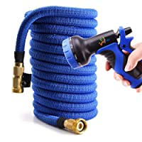 WEUE Expanding Hose, Upgraded Strong Expandable Garden Hose Extra Strength Fabric and Brass Connector with Spray Nozzle