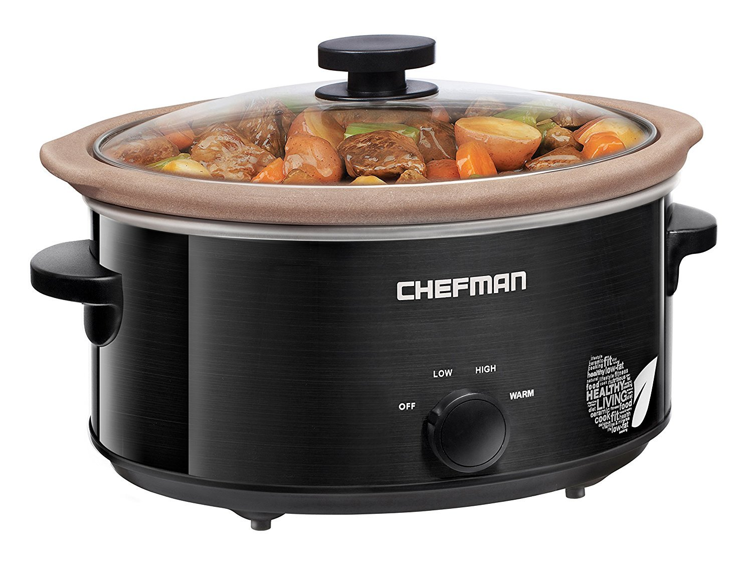 Chefman Slow Cooker, All Natural XL 6 Qt. Pot, Glaze-Free, Chemical-Free Stovetop, Oven, Dishwasher Safe Crock; The Only Naturally Nonstick Paleo Certified Slow Cooker, Free Recipes Included-RJ15-6-N