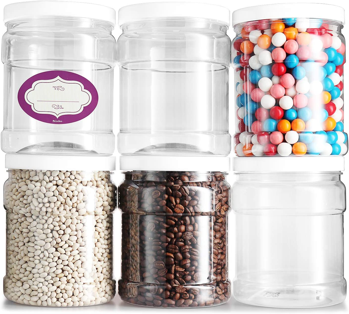 Pack of 6 - Clear Empty Plastic 48 Oz Storage containers with Lids - Round Pantry Containers - Clear Jars Come with Air Tight Lids and Labels – BPA Free Plastic Jar - Paint Storage Containers