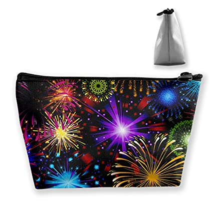 0bc76a86dd73 Amazon.com: Makeup Bag Cosmetic Fireworks Night Portable Cosmetic ...
