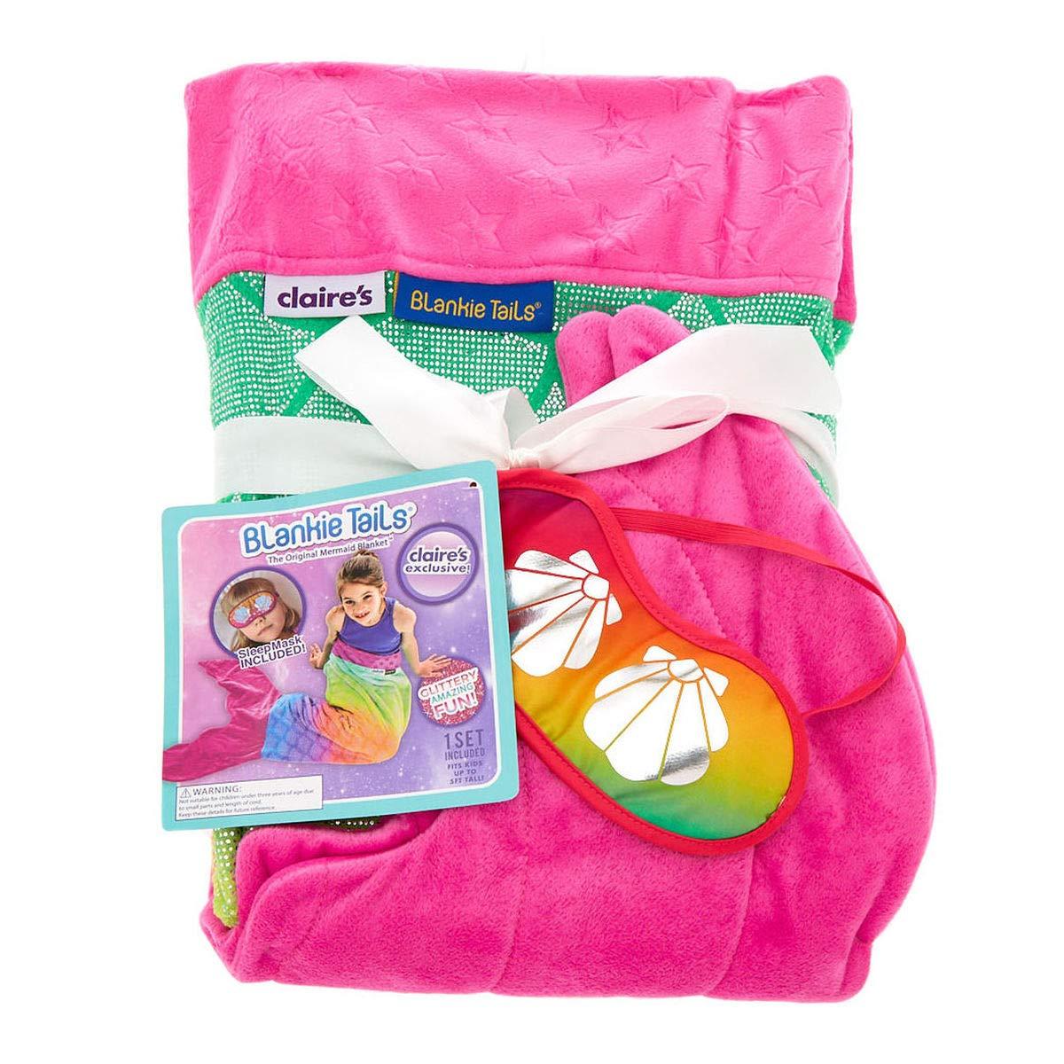 Rainbow Pink Mermaid Tail Blanket Sleep Mask Set