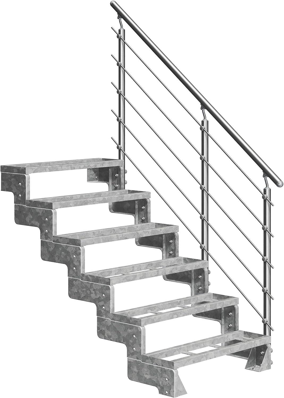 DOLLE Au/ßentreppe Gardentop mit 2 Stufen Geschossh/öhe 36-44 cm │ Stufenauflage Einlegestufen │ Stufenbreite 80 cm mit Einzelstabgel/änder