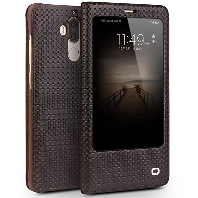 sale retailer 8d048 63776 Huawei Mate 9 Case, QIALINO Unique Genuine Leather Smart Cover (with Smart  View Window and Auto Sleep/Wake Feature) for Huawei Mate9, Brown