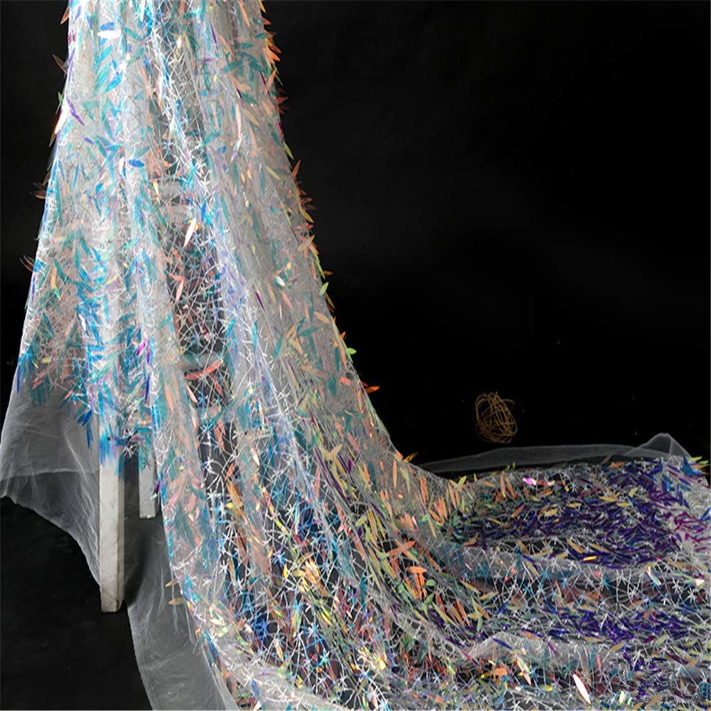 Protezione Ambientale Strass Lama Tridimensionale Pizzo Tessuto Design Abbigliamento Tessuto Palla Abito Tessuto Fatto A Mano Tessuto Decorativo Fai Da Te, 0.5M [Classe di efficienza energetica A] ADS