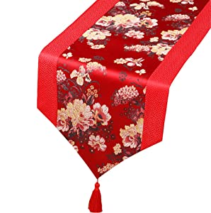 George Jimmy Chinese Classical Table Runner Traditional Satin Table-Cloth-Red Peony