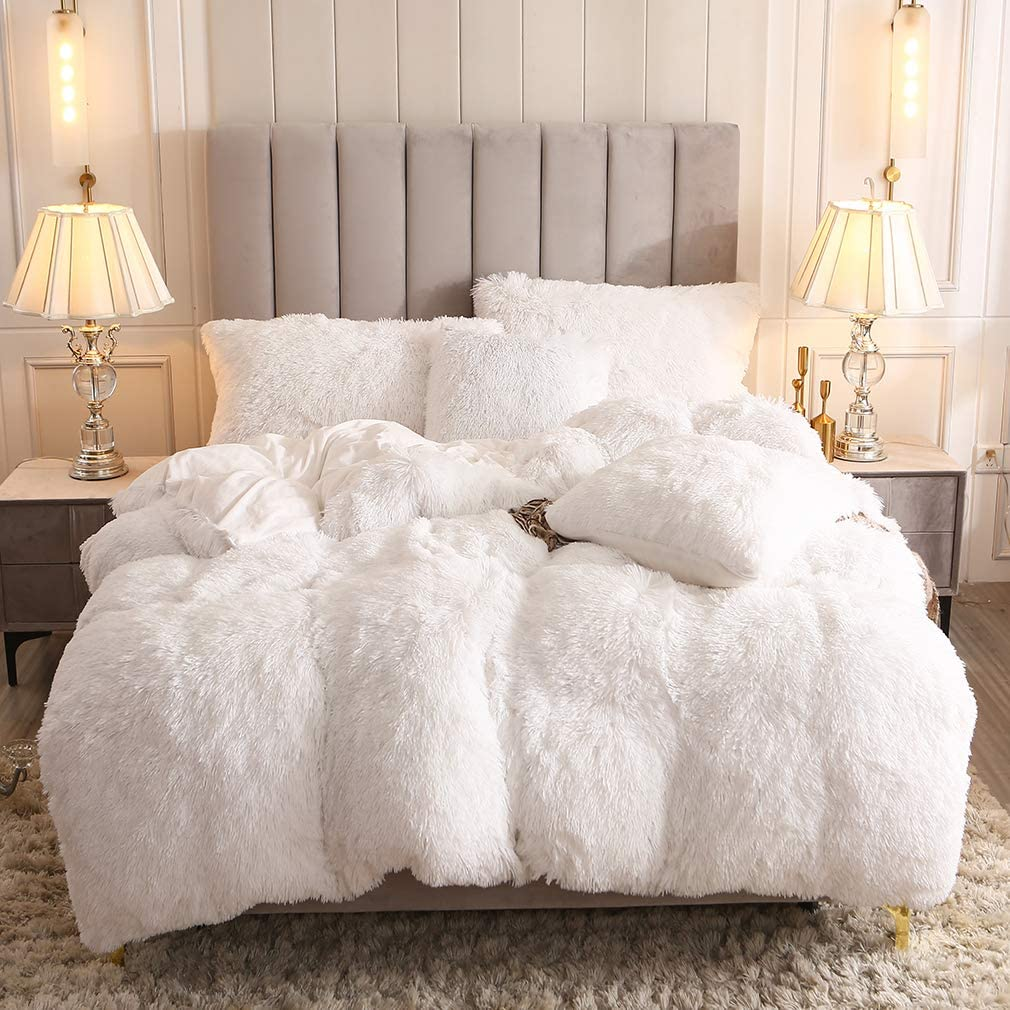 Twin, Camel Uhamho Faux Fur Velvet Fluffy Bedding Duvet Cover Set Down Comforter Quilt Cover with Pillow Shams Ultra Soft Warm and Durable