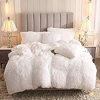 Uhamho Faux Fur Velvet Fluffy Bedding Duvet Cover Set Down Comforter Quilt Cover with Pillow Shams, Ultra Soft Warm and Durable (White, King)