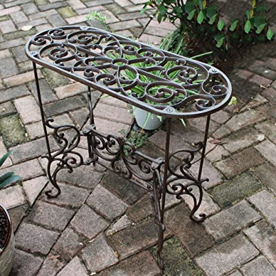 CJHH European Creative Cast Iron Retro Rectangular Flower Stand Flower Pot Rack Rack Indoor Balcony Villa Decoration Ornaments Flower: Home & Kitchen
