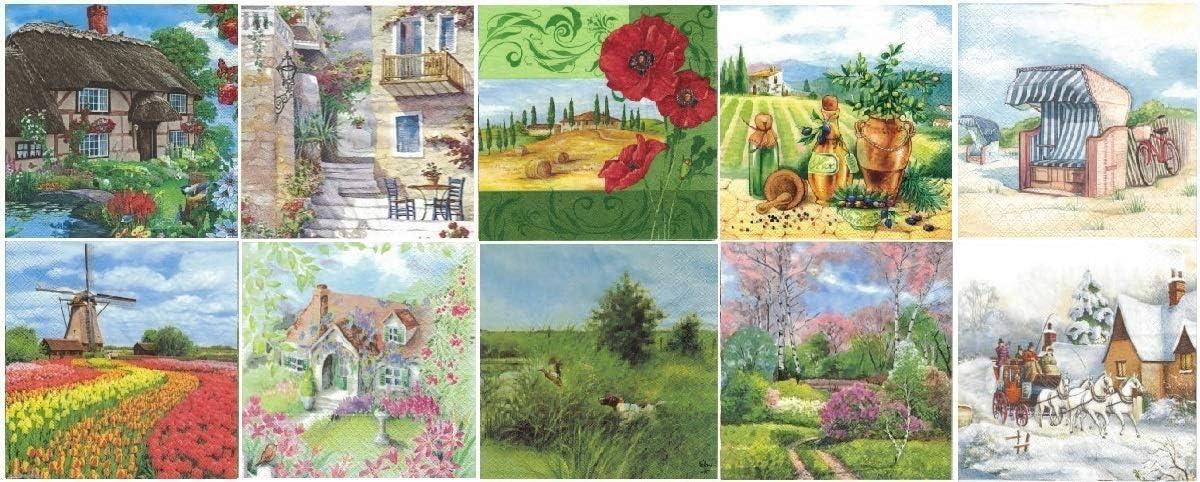 4 Luxury Winter Village Landscape Paper Napkins Serviettes Decoupage Napkins NEW