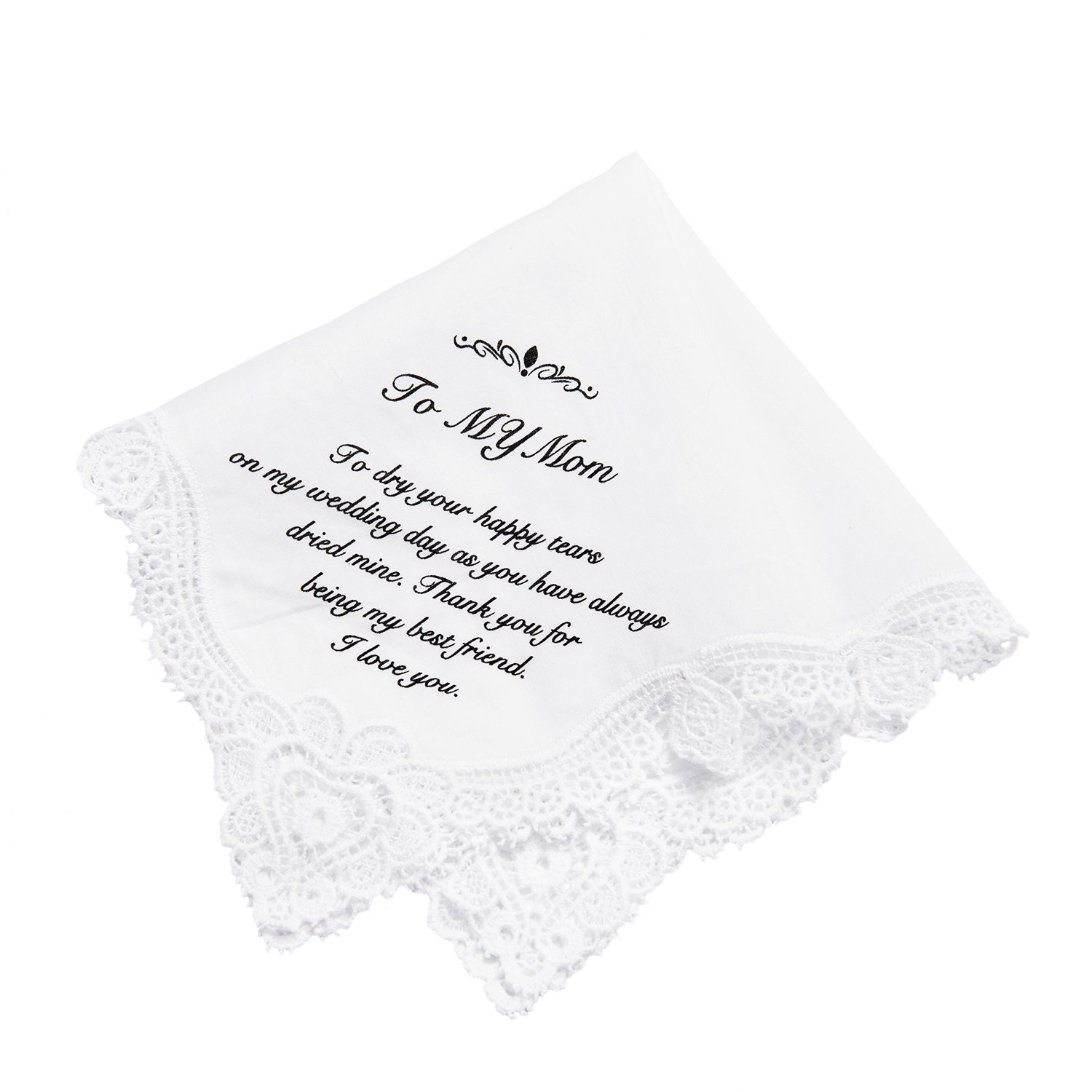 Ling's Moment Hankie Wedding Handkerchief for Mom Gift, Birthday Thanksgiving Christmas New Year Gift,100% Cotton