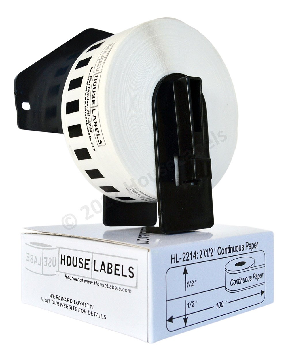 12 Rolls of BROTHER-Compatible DK-2214 Continuous Length Paper Tape (0.5'' 100'; 12mm 30.48m) -- Including ONE (1) Reusable Black Cartridge -- BPA Free!