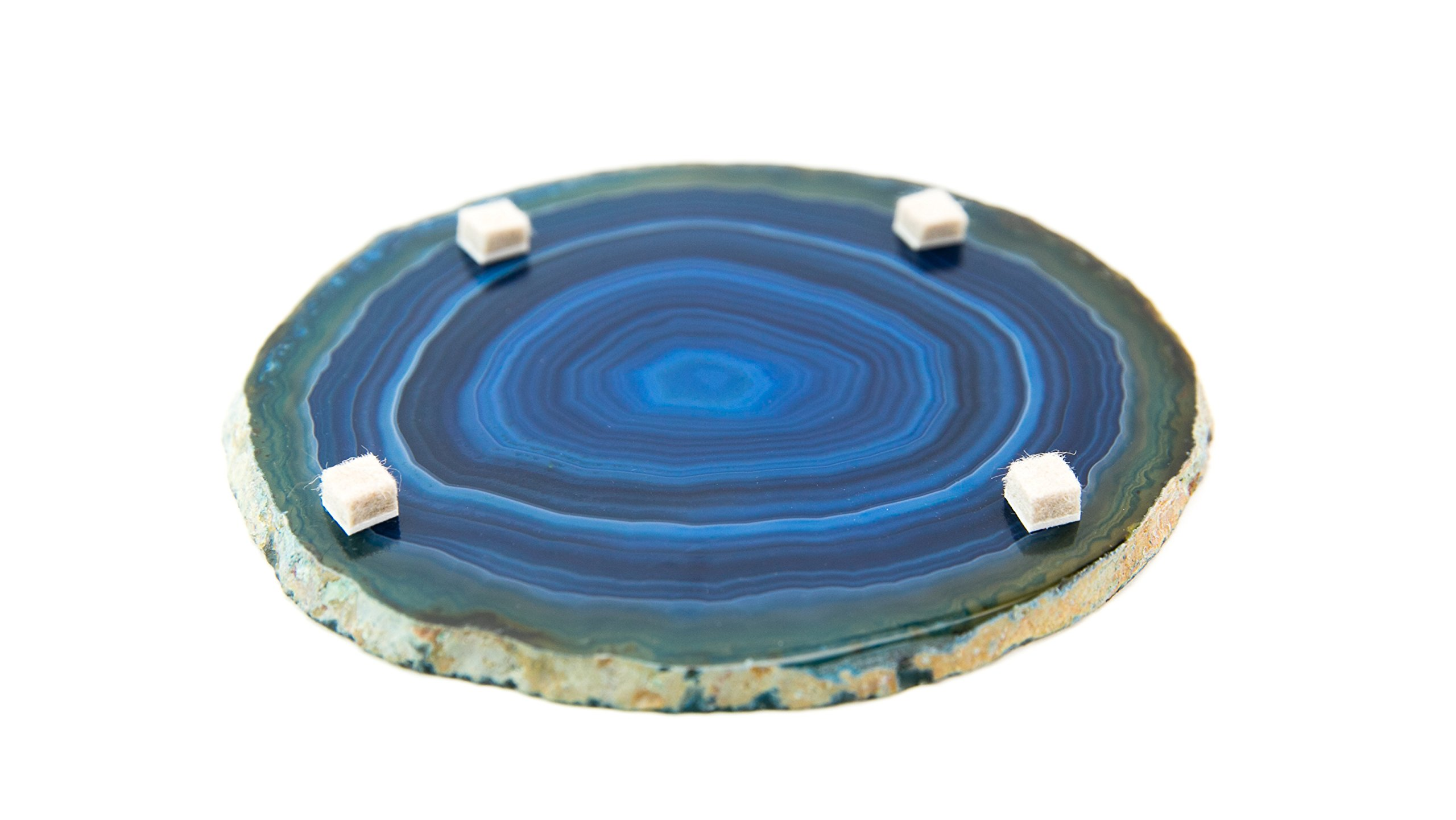 LARGE BLUE AGATE COASTERS Set of 4 Sliced Thick with Felt Bumper (4-5) | Authentic Handmade Brazilian coasters packaged in the USA by Babylon Agate (Image #6)