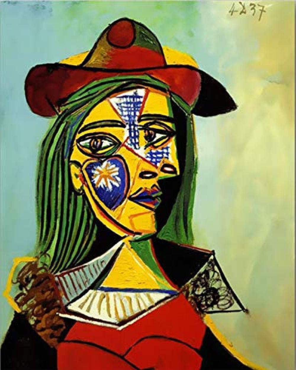 FSKJSZYH Sin Marco DIY Colorantes Pintura por Números Picasso S Cuadros Abstractos Famosos Cuadros por Números Mujer con Un Sombrero 40X50Cm
