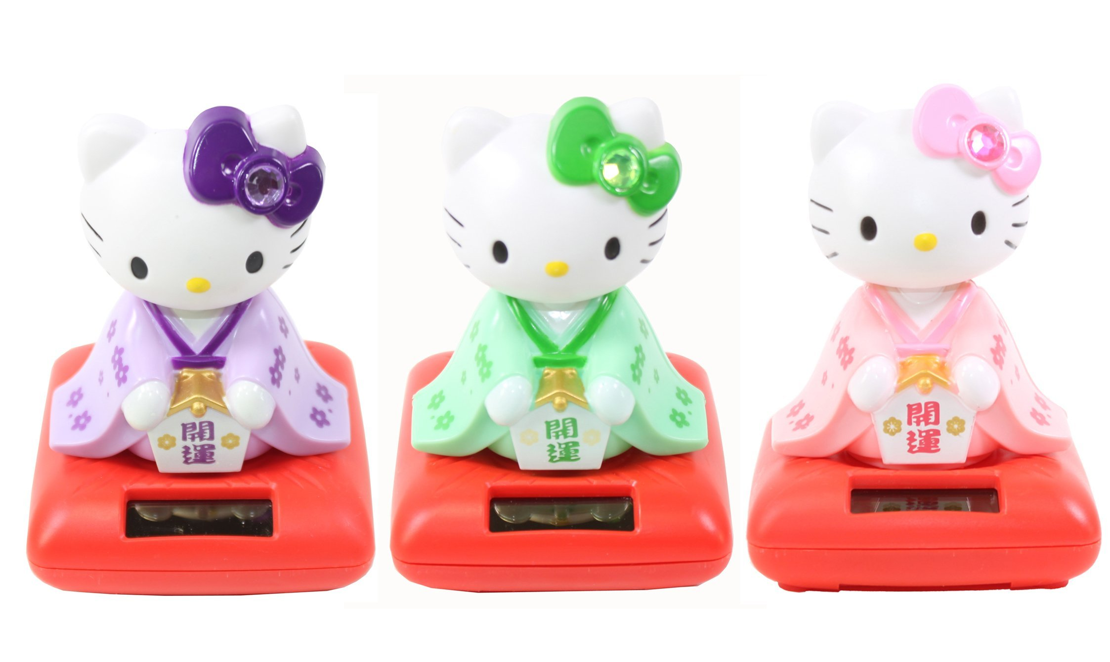 Set of 3 Cute Hello Kitty in Green & Purple & Pink Kimono Holding Lucky Ema Solar Toy Home Decor Gift by We pay your sales tax
