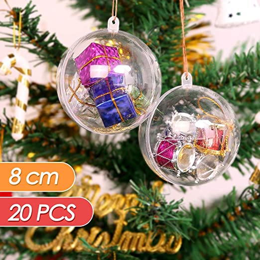 Beading Thread ilauke 20pcs 8cm Christmas Ball Clear Transparent Balls with Feathers Ornament Bauble DIY Fillable Craft Plastic Ball for Wedding Party Christmas Home Decor Fake Snowflake