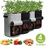 Homyhoo Potato Grow Bags with Flap 10 Gallon, 4 Pack Planter Pot with Handles and Velcro Harvest Window for Potato Tomato and Vegetables, Black and Gray