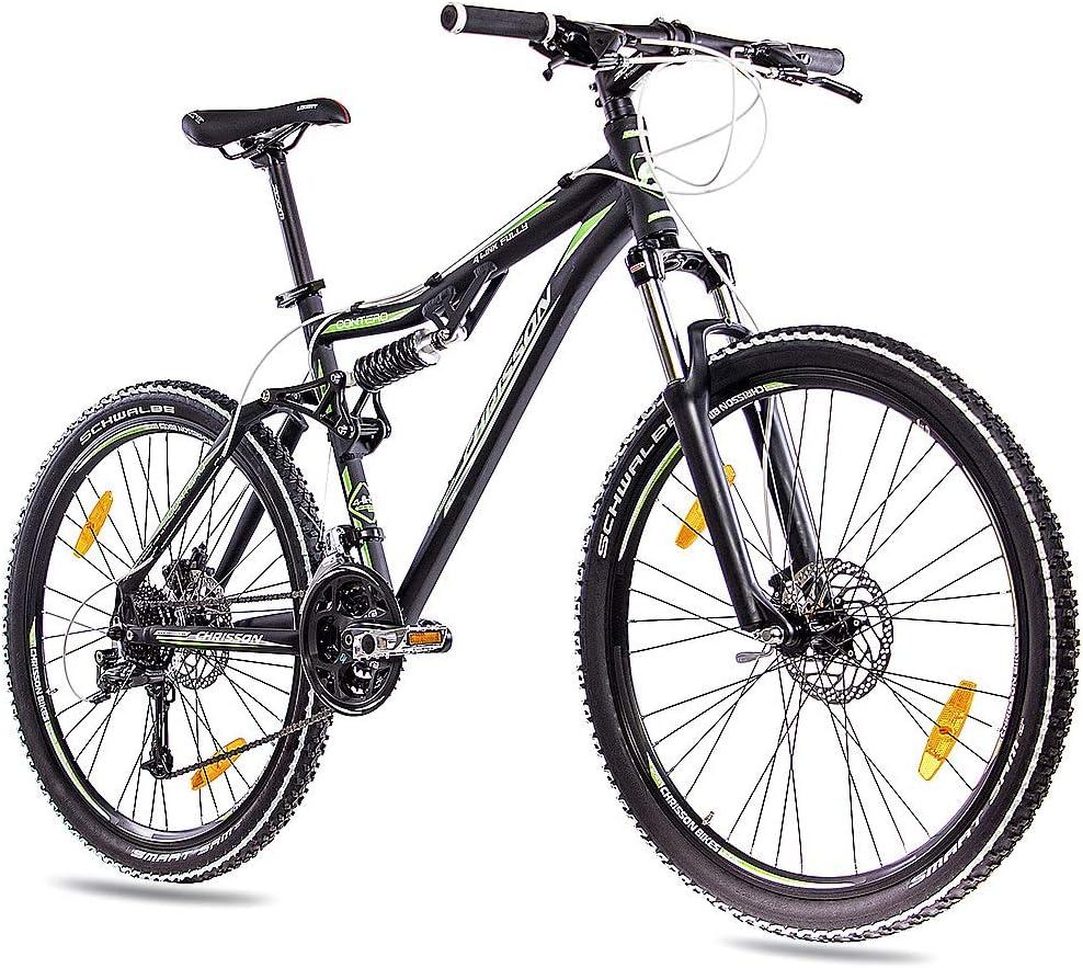 CHRISSON 26 Pulgadas Top Aluminio Mountain Bike Bicicleta contero con 24 velocidades DEORE y Schwalbe y 2 x Disc Negro Mate: Amazon.es: Deportes y aire libre