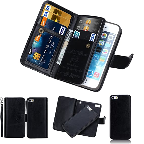timeless design ce111 058aa iPhone SE Detachable Wallet Case, SOUNDMAE 2-in-1 Magnetic Removable  Multi-function 6 Card Slots Cash Holder Folio Flip PU Leather Wallet With  Wrist ...