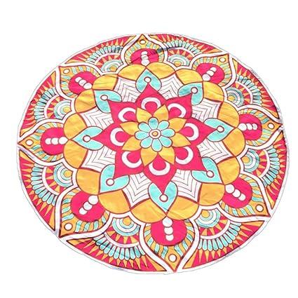 YANG-YI - Manta de yoga, toalla de yoga con impresión redonda de yoga