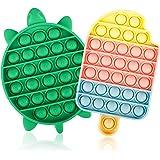 Jasilon [Newest Design [UPGRAED Material] 2PCS Push Bubble Pop Fidget Sensory Toy, Autism Special Needs Silicone Stress Relie
