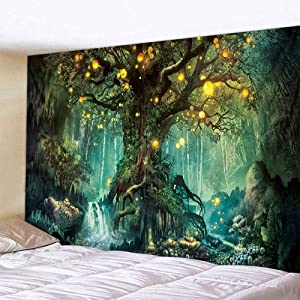 ROUNCO Forest Tapestry, Nature Tree Popular Elves Wall Hanging Tapestry With Art Nature Home Decorations for Living Room Bedroom (51.2