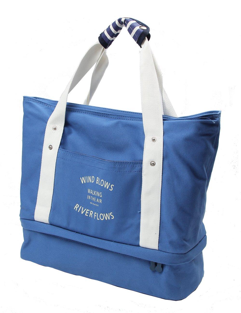 iSuperb Travel Bag Canvas Large-Size Handbag Carry-On Shoulder Tote Duffel Bag (Blue)