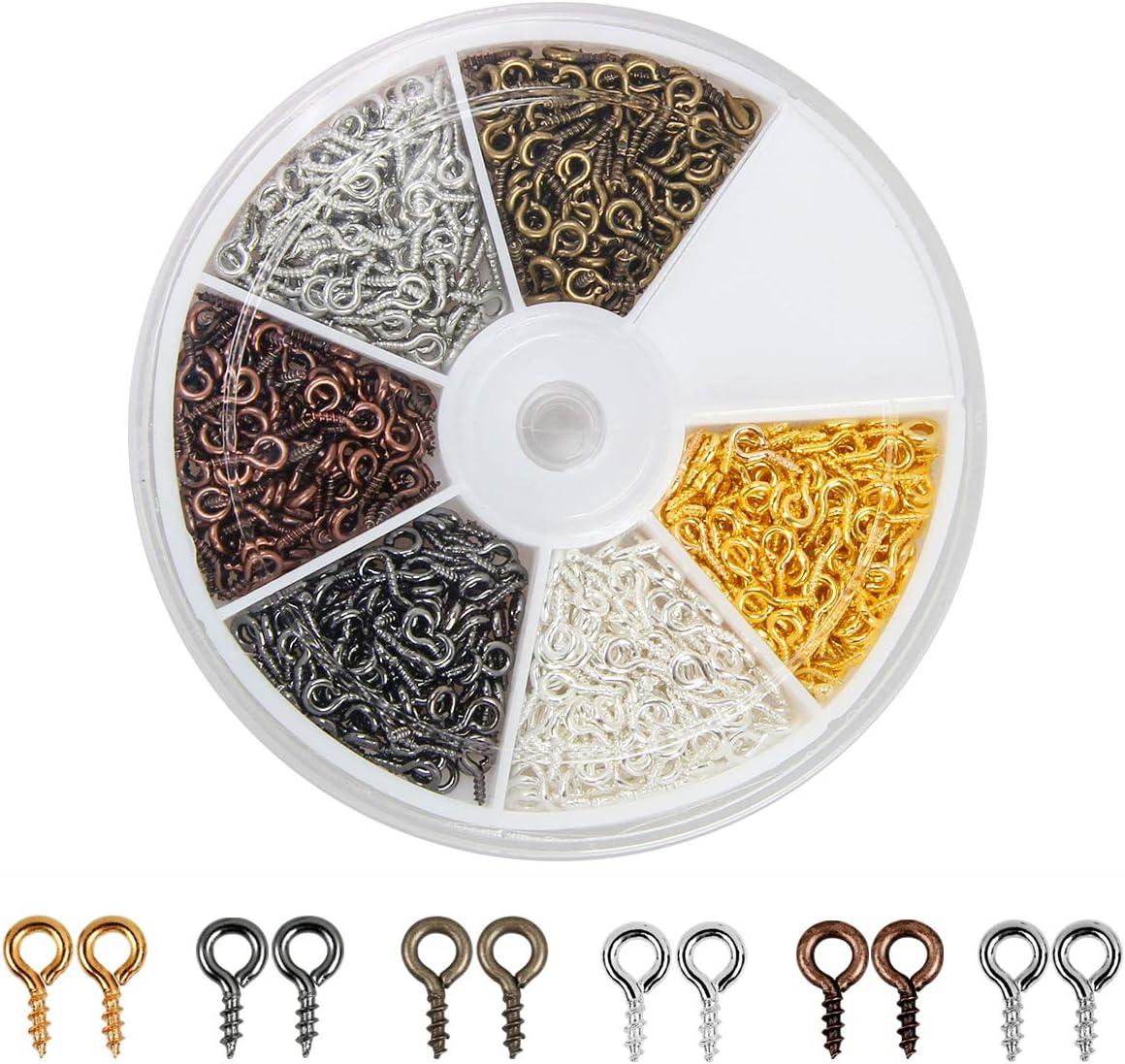 Pasadores ojo de tornillo para joyeria (600 pack, 6 colores)