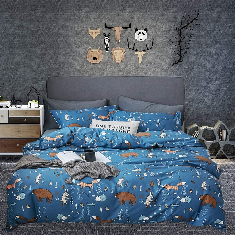 with Zipper and Corner Ties Soft Comfortable for Boys and Girls Joyreap 3 Pieces Duvet Cover Set Cotton Twin for Kids Navy Blue Quilt Cover with Cute Bear Fox and Rabbit Animal Forest,T