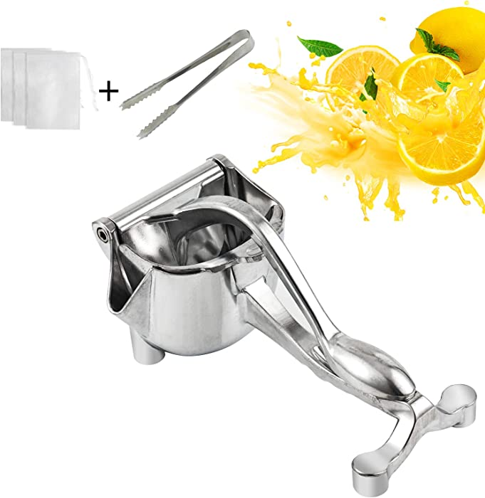 BestFire Manual Citrus Juicer Lemon Lime Squeezer Juicer with Free 30pcs Filter Bags & 1pcs Tongs Metal Aluminum Alloy Orange Juicer Hand Press for Fruit Vegetable, Detachable Liner, Silver
