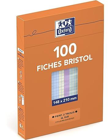 Oxford Etui De 100 Fiches Bristol Perforees A5 Petits Carreaux 5x5 Coloris Assortis