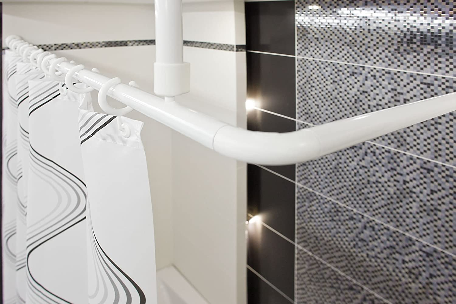 Tropik home Shower Curtain Rail/Rod, 4 way use, L or U shape with ceiling mount and semi-open ring (White) beytug