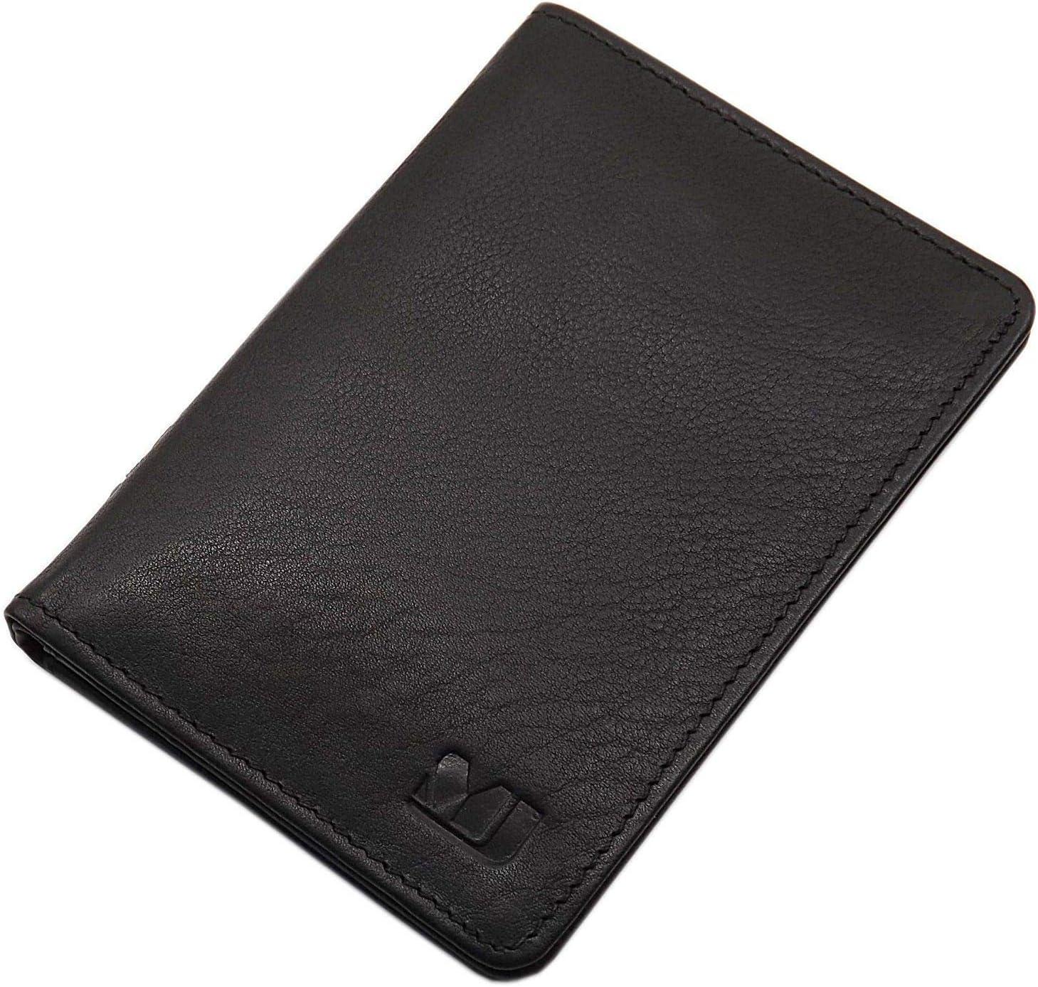 Noir Cuir de Veau Pochette de Carte didentit/é et Porte Carte de cr/édit MJ-Design-Germany en 3 diverses Couleurs