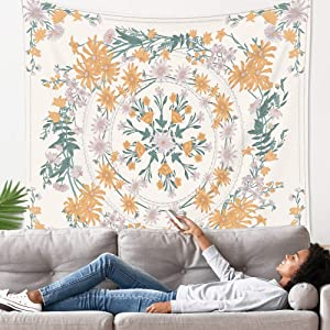 "Mandala Tapestry Wall Hanging Flower Psychedelic Tapestry Wall Hanging Decor for Living Room Bedroom Bohemian Plant Print (Blue, L:(59.1"" x 80""))"