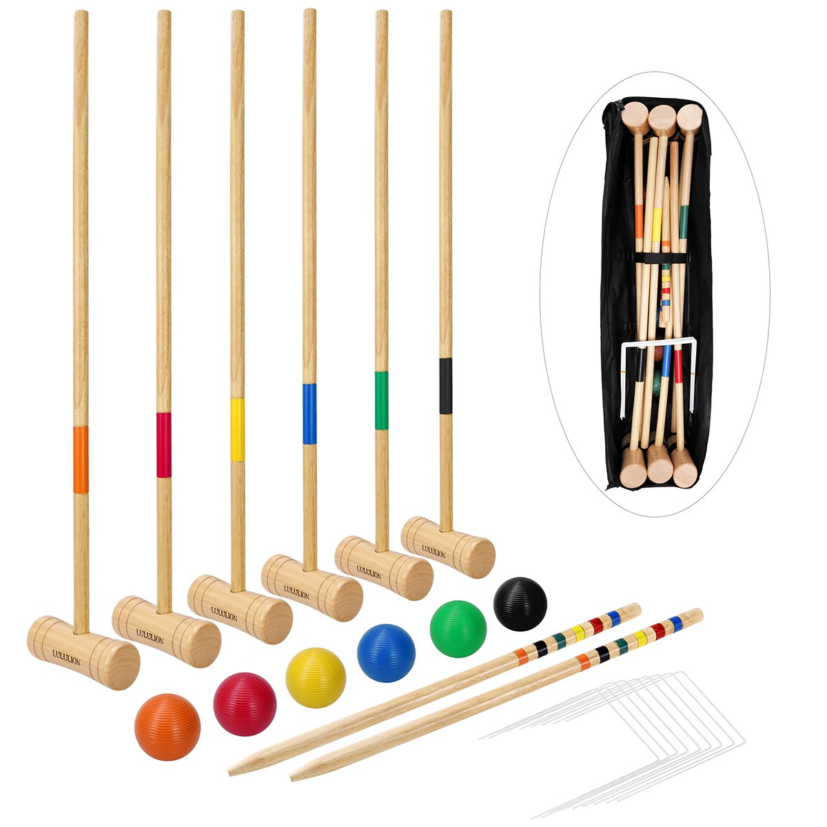 LULULION Deluxe Croquet Set for Adults & Kids - Includes Extra Large Carrying Bag - 6 Players, Durable Hardwood Material, Perfect Backyard Party Game for Family, 31-Inch by LULULION