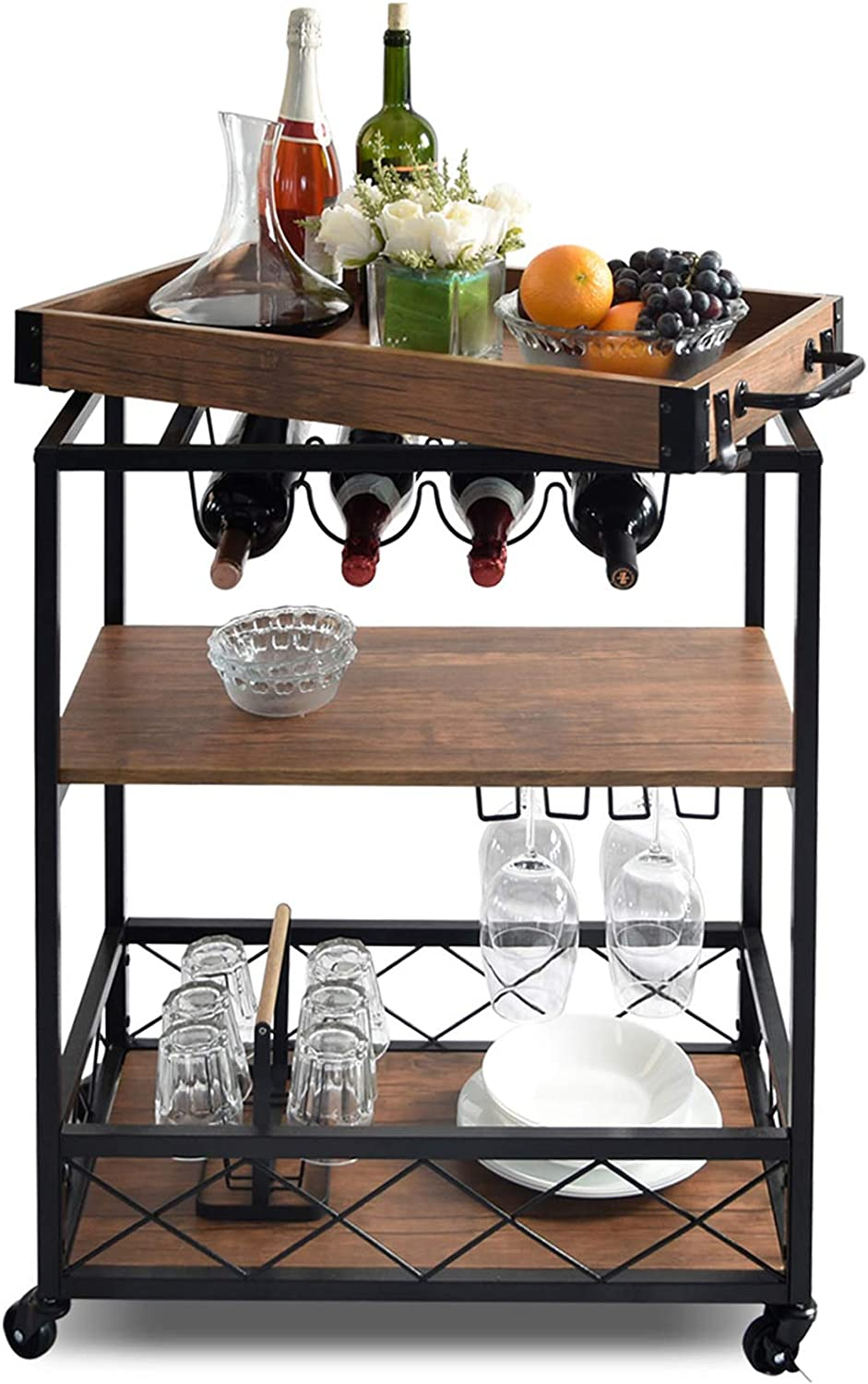 NSdirect Kitchen Cart,Kitchen Bar&Serving Cart Rolling Utility Storage Cart with 3-Tier Shelves,Metal Wine Rack Storage and Glass Bottle Holder,Removable Wood Top Box Container with Hook Rack,Brown