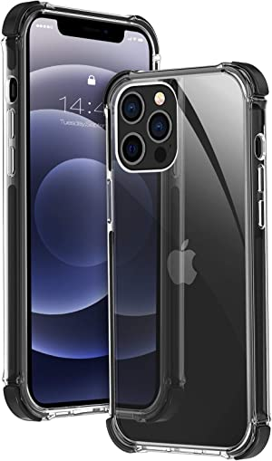 MATEPROX Compatible with 12 Pro Max Case Clear Heavy Duty Protective Crystal Back Cover with Shockproof Bumper Case(Black)