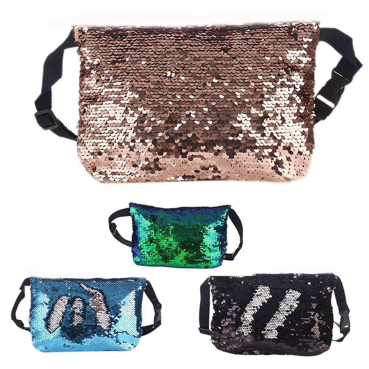 Color : Black+Silver Women Mermaid Sequins Outdoor Sports Fanny Pack Bum Purse Clutch Pouch Waist Bag