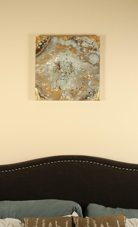 Amazon.com: Gold leaf original fluid acrylic abstract art, coastal ...